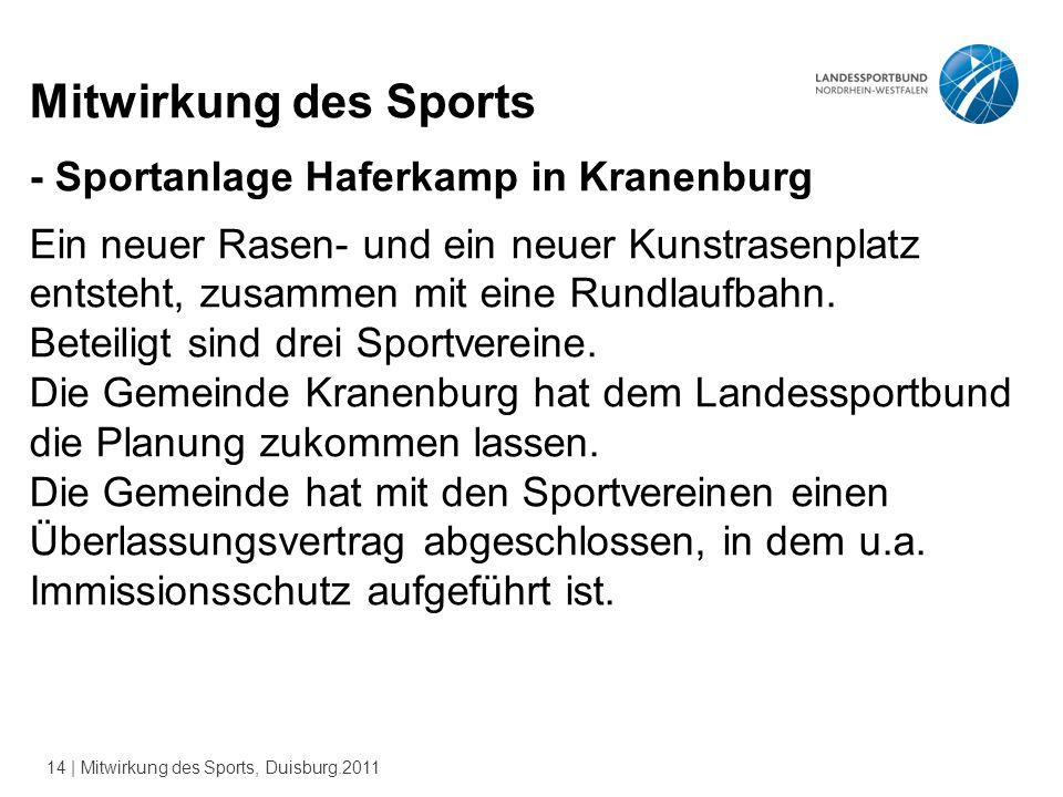 14 | Mitwirkung des Sports, Duisburg.2011 Mitwirkung des Sports - Sportanlage Haferkamp in Kranenburg Ein neuer Rasen- und ein neuer Kunstrasenplatz entsteht, zusammen mit eine Rundlaufbahn.