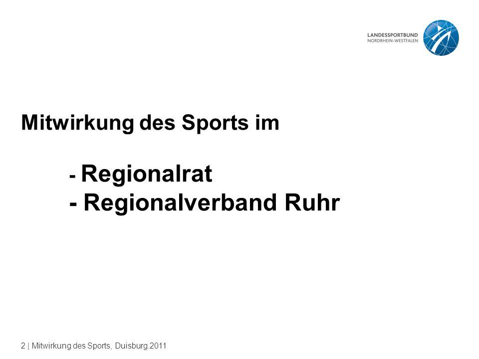 2 | Mitwirkung des Sports, Duisburg.2011 Mitwirkung des Sports im - Regionalrat - Regionalverband Ruhr