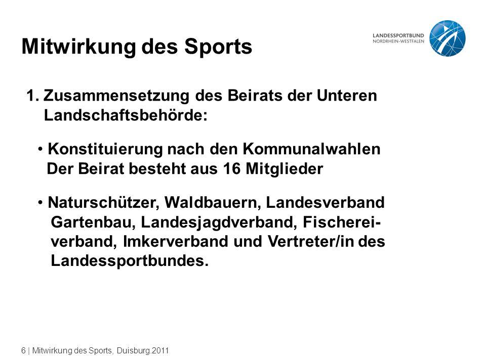6 | Mitwirkung des Sports, Duisburg.2011 Mitwirkung des Sports 1.
