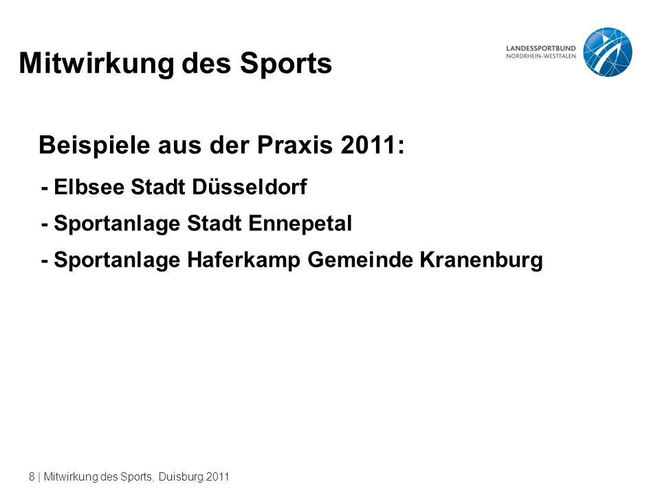 8 | Mitwirkung des Sports, Duisburg.2011 Mitwirkung des Sports Beispiele aus der Praxis 2011: - Elbsee Stadt Düsseldorf - Sportanlage Stadt Ennepetal - Sportanlage Haferkamp Gemeinde Kranenburg