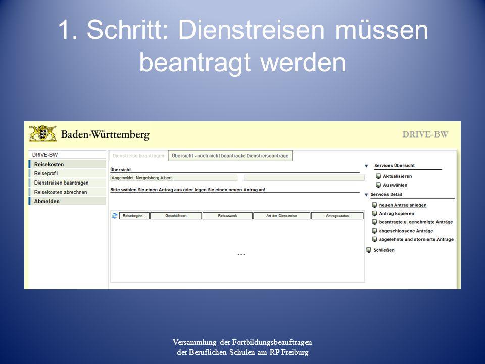 1. Schritt: Dienstreisen müssen beantragt werden Versammlung der Fortbildungsbeauftragen der Beruflichen Schulen am RP Freiburg