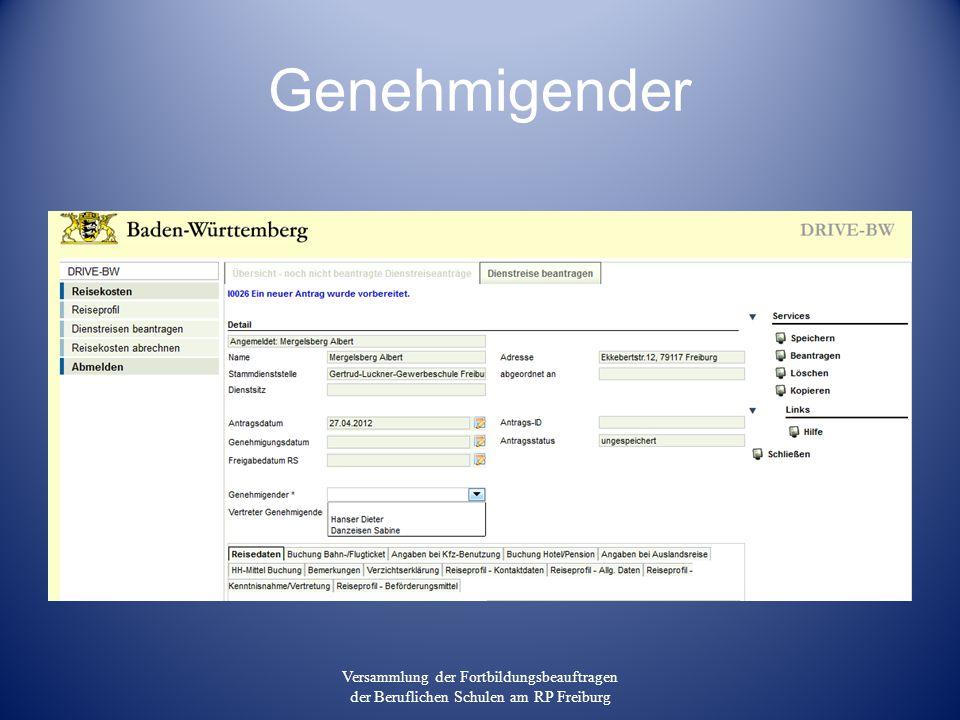 Genehmigender Versammlung der Fortbildungsbeauftragen der Beruflichen Schulen am RP Freiburg
