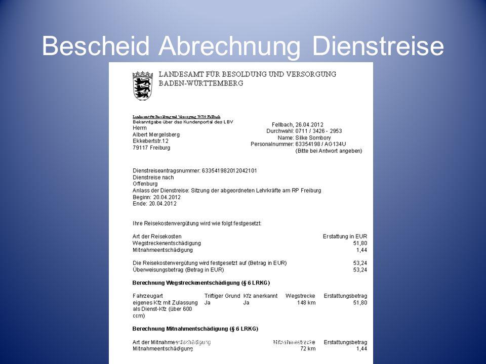 Bescheid Abrechnung Dienstreise Versammlung der Fortbildungsbeauftragen der Beruflichen Schulen am RP Freiburg