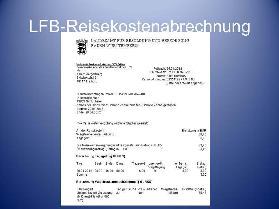 LFB-Reisekostenabrechnung Versammlung der Fortbildungsbeauftragen der Beruflichen Schulen am RP Freiburg