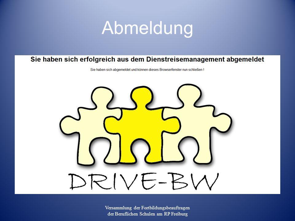 Abmeldung Versammlung der Fortbildungsbeauftragen der Beruflichen Schulen am RP Freiburg
