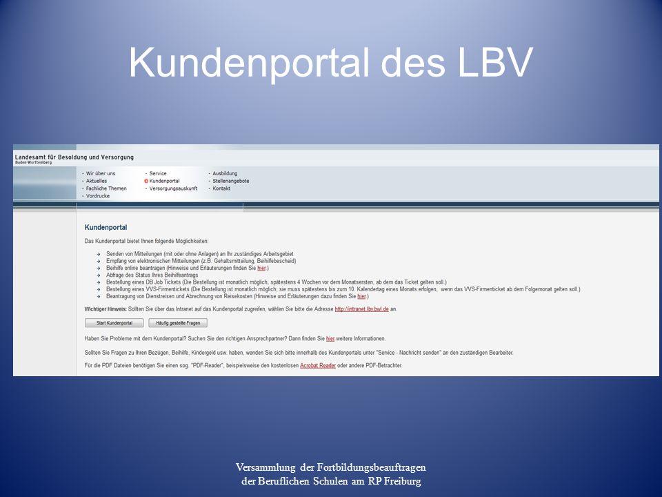 Kundenportal des LBV Versammlung der Fortbildungsbeauftragen der Beruflichen Schulen am RP Freiburg