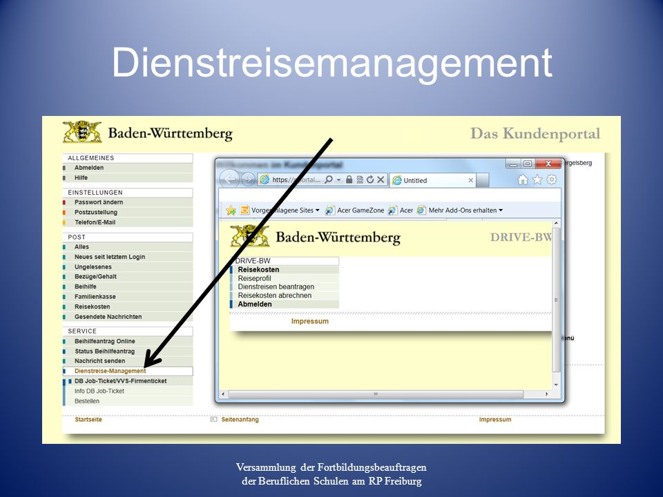 Dienstreisemanagement Versammlung der Fortbildungsbeauftragen der Beruflichen Schulen am RP Freiburg