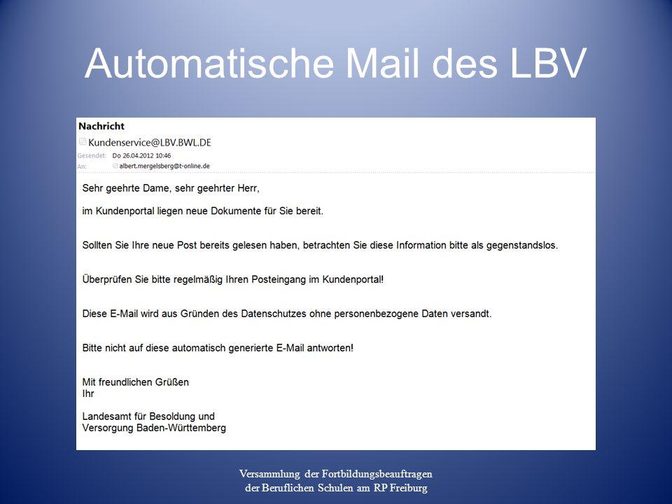 Automatische Mail des LBV Versammlung der Fortbildungsbeauftragen der Beruflichen Schulen am RP Freiburg