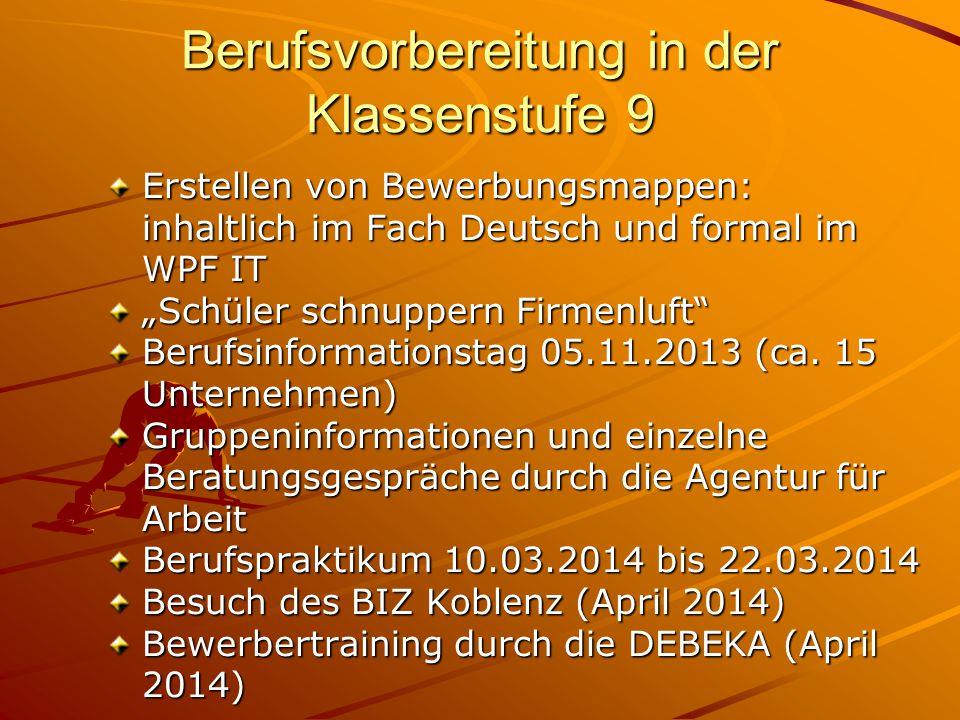 Berufsvorbereitung in der Klassenstufe 9 Erstellen von Bewerbungsmappen: Erstellen von Bewerbungsmappen: inhaltlich im Fach Deutsch und formal im inha