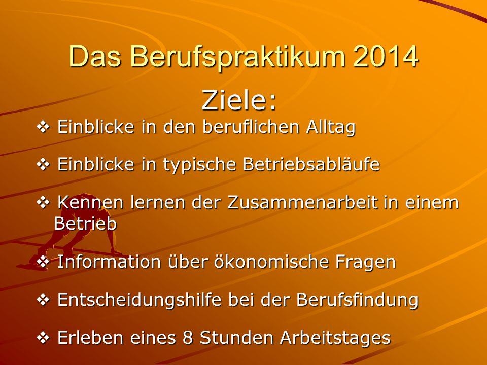 Berufspraktikum 2014 Das Unternehmen…  soll ein Ausbildungsbetrieb sein,  soll Ausbildungsberufe anbieten, die mit dem Sek.