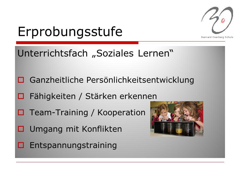 """Erprobungsstufe Unterrichtsfach """"Soziales Lernen""""  Ganzheitliche Persönlichkeitsentwicklung  Fähigkeiten / Stärken erkennen  Team-Training / Kooper"""