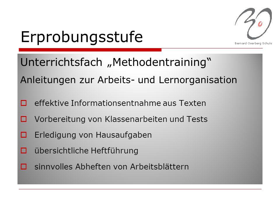 """Erprobungsstufe Unterrichtsfach """"Methodentraining"""" Anleitungen zur Arbeits- und Lernorganisation  effektive Informationsentnahme aus Texten  Vorbere"""