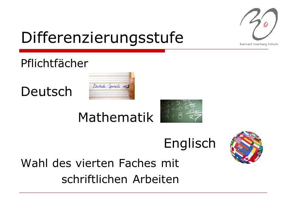 Differenzierungsstufe Pflichtfächer Deutsch Mathematik Englisch Wahl des vierten Faches mit schriftlichen Arbeiten