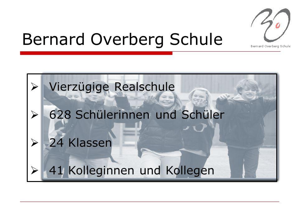 Bernard Overberg Schule  Vierzügige Realschule  628 Schülerinnen und Schüler  24 Klassen  41 Kolleginnen und Kollegen