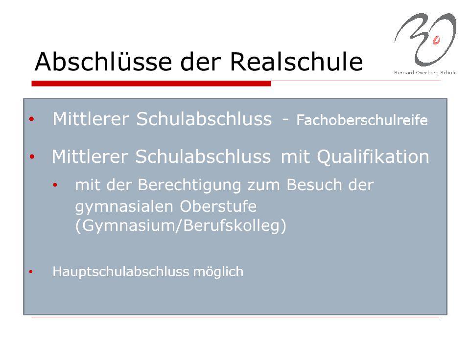 Abschlüsse der Realschule Mittlerer Schulabschluss - Fachoberschulreife Mittlerer Schulabschluss mit Qualifikation mit der Berechtigung zum Besuch der