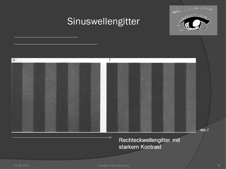 21.08.201410Visuelle Wahrnehmung Sinuswellengitter Rechteckwellengitter mit starkem Kontrast Abb.7