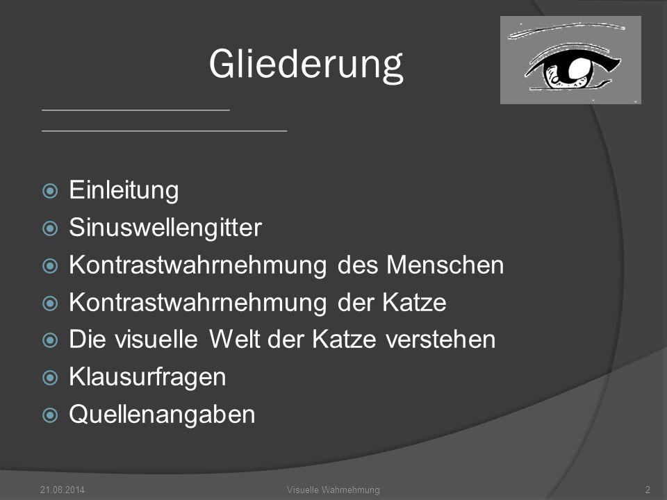  Kontrast steht im Zusammenhang mit dem Unterschied der Intensität heller/dunkler Balken 21.08.20143Visuelle Wahrnehmung Einleitung Abb.1