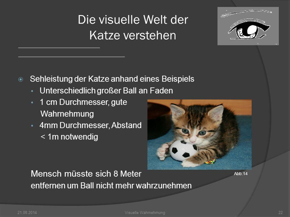  Sehleistung der Katze anhand eines Beispiels Unterschiedlich großer Ball an Faden 1 cm Durchmesser, gute Wahrnehmung 4mm Durchmesser, Abstand < 1m notwendig Mensch müsste sich 8 Meter entfernen um Ball nicht mehr wahrzunehmen 21.08.201422Visuelle Wahrnehmung Die visuelle Welt der Katze verstehen Abb.14