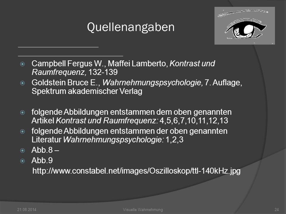  Campbell Fergus W., Maffei Lamberto, Kontrast und Raumfrequenz, 132-139  Goldstein Bruce E., Wahrnehmungspsychologie, 7.