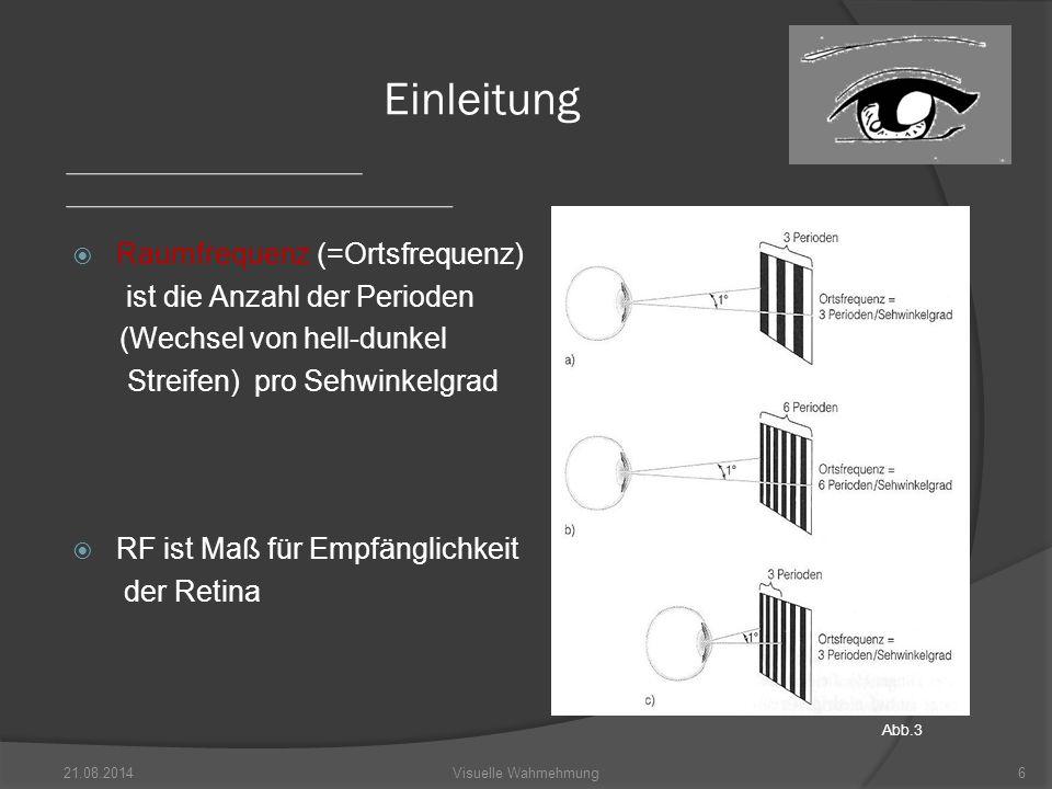  Sinuswelle = einfachstes akustisches Signal  visuelle Wahrnehmung: Helligkeitsschwankung in einem einfachen räumlichen Sinuswellengitter  Definition der RF eines Streifengitters über die Anzahl von Helligkeits- maxima (-minima) bei Sehwinkel 1 Grad 21.08.20147Visuelle Wahrnehmung Sinuswellengitter Abb.4