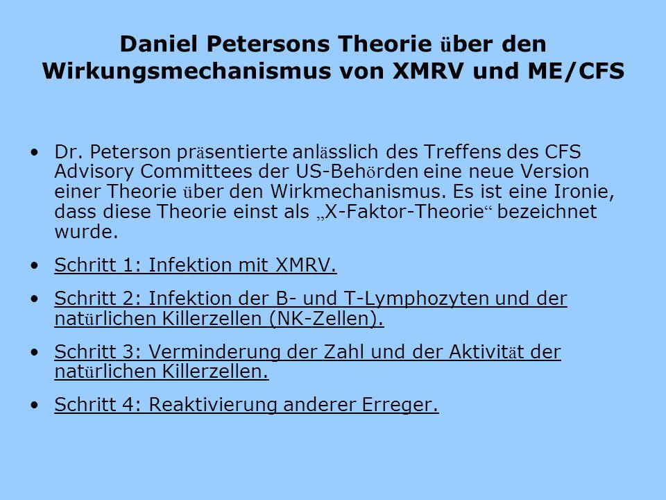 Daniel Petersons Theorie ü ber den Wirkungsmechanismus von XMRV und ME/CFS Dr. Peterson pr ä sentierte anl ä sslich des Treffens des CFS Advisory Comm