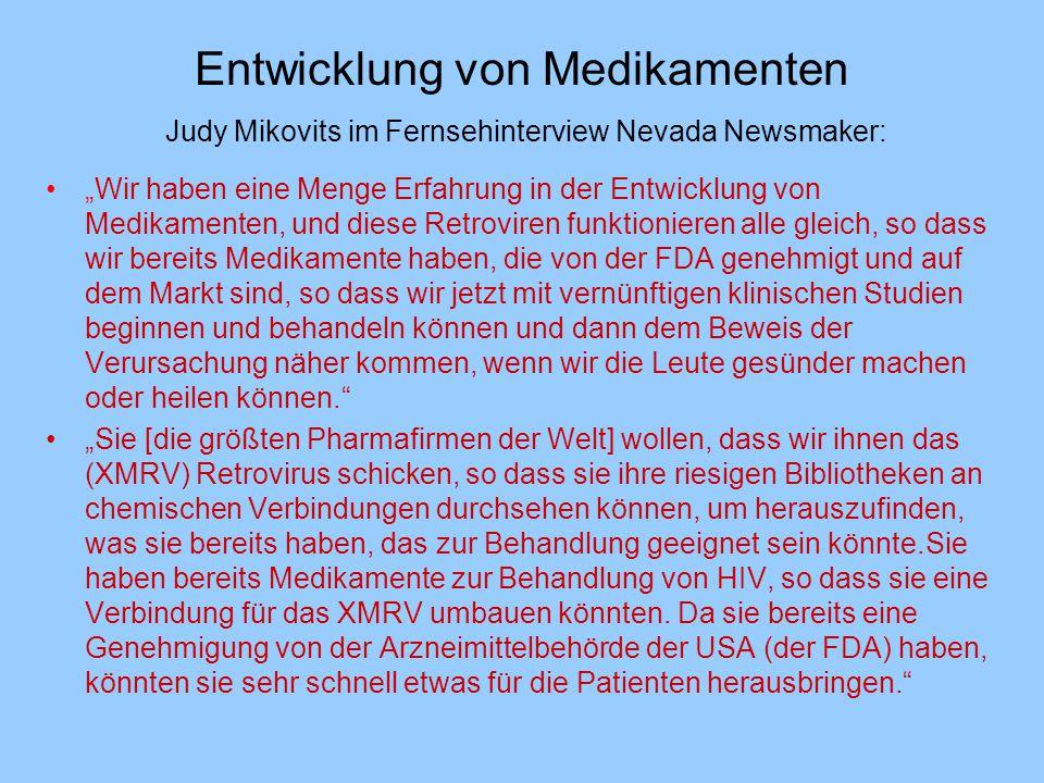 """Entwicklung von Medikamenten Judy Mikovits im Fernsehinterview Nevada Newsmaker: """"Wir haben eine Menge Erfahrung in der Entwicklung von Medikamenten,"""