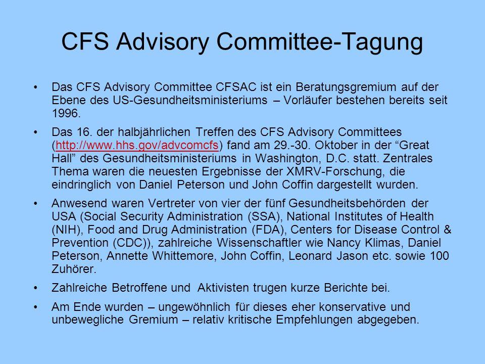 CFS Advisory Committee-Tagung Das CFS Advisory Committee CFSAC ist ein Beratungsgremium auf der Ebene des US-Gesundheitsministeriums – Vorläufer beste