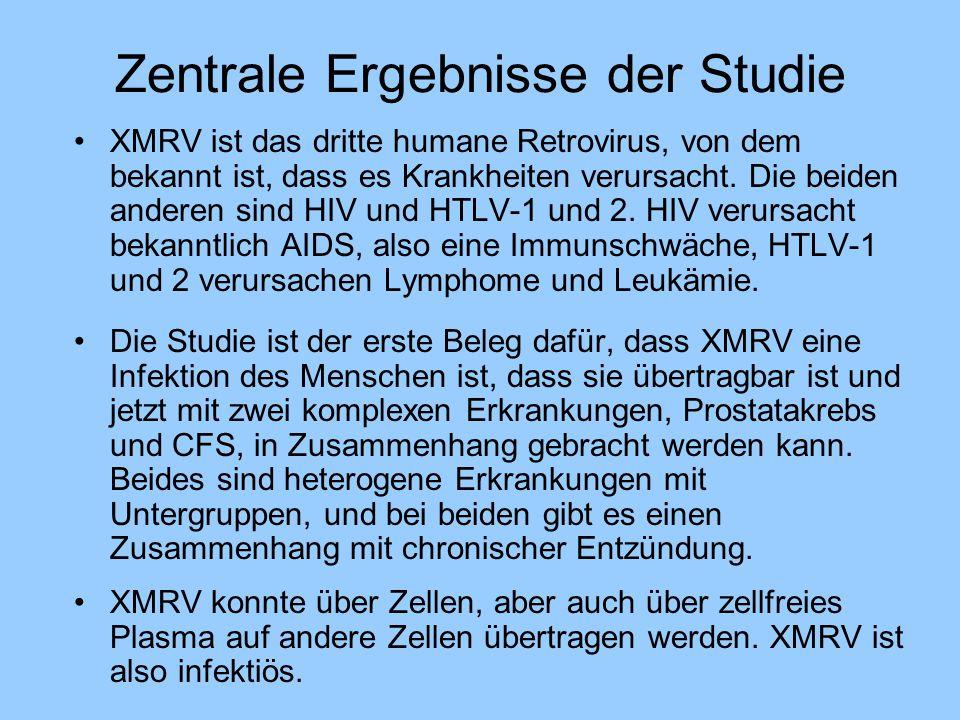 Zentrale Ergebnisse der Studie XMRV ist das dritte humane Retrovirus, von dem bekannt ist, dass es Krankheiten verursacht. Die beiden anderen sind HIV
