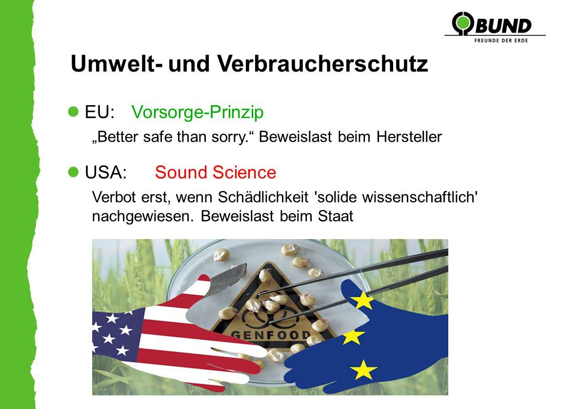"""Umwelt- und Verbraucherschutz EU: Vorsorge-Prinzip """"Better safe than sorry."""" Beweislast beim Hersteller USA: Sound Science Verbot erst, wenn Schädlich"""