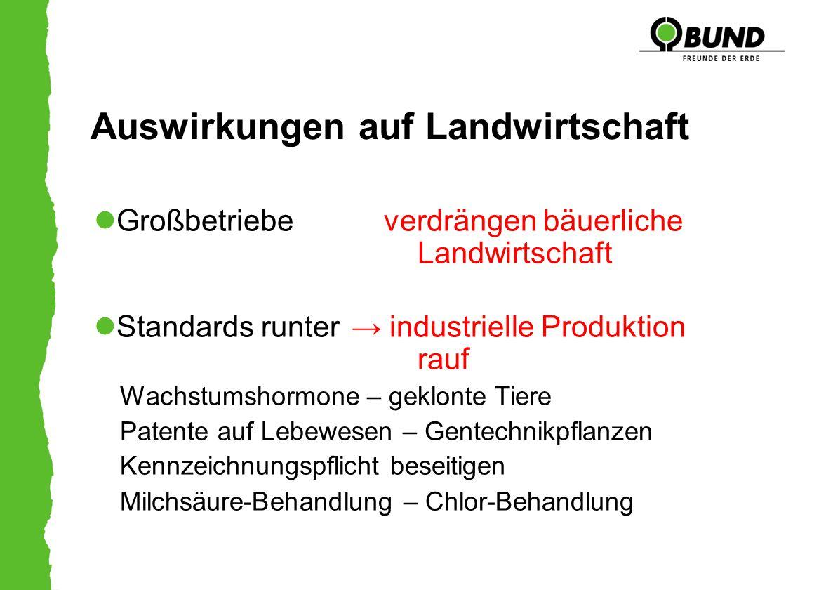 Auswirkungen auf Landwirtschaft Großbetriebe verdrängen bäuerliche Landwirtschaft Standards runter → industrielle Produktion rauf Wachstumshormone – g