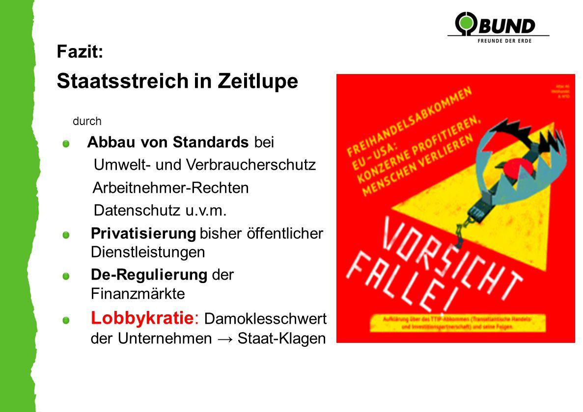 Fazit: Staatsstreich in Zeitlupe durch Abbau von Standards bei Umwelt- und Verbraucherschutz Arbeitnehmer-Rechten Datenschutz u.v.m. Privatisierung bi