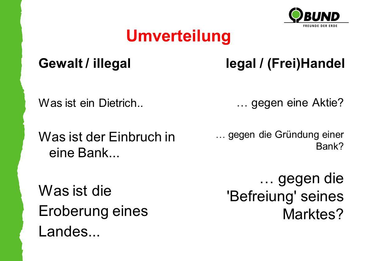 Umverteilung Gewalt / illegal legal / (Frei)Handel Was ist ein Dietrich.. Was ist der Einbruch in eine Bank... Was ist die Eroberung eines Landes... …