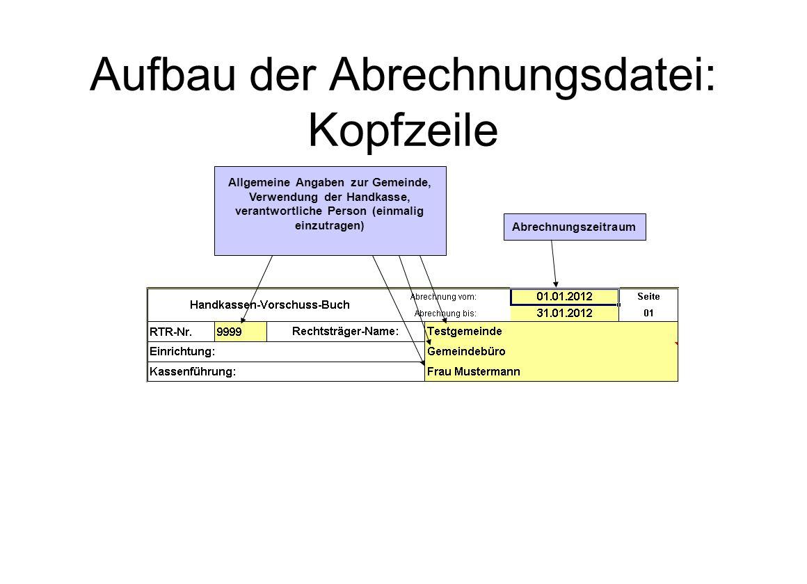 Aufbau der Abrechnungsdatei: Kopfzeile Allgemeine Angaben zur Gemeinde, Verwendung der Handkasse, verantwortliche Person (einmalig einzutragen) Abrech
