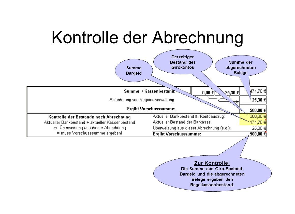 Kontrolle der Abrechnung Summe Bargeld Summe der abgerechneten Belege Zur Kontrolle: Die Summe aus Giro-Bestand, Bargeld und die abgerechneten Belege