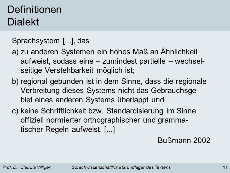 Prof. Dr. Claudia VilligerSprachwissenschaftliche Grundlagen des Textens11 Definitionen Dialekt Sprachsystem [...], das a)zu anderen Systemen ein hohe