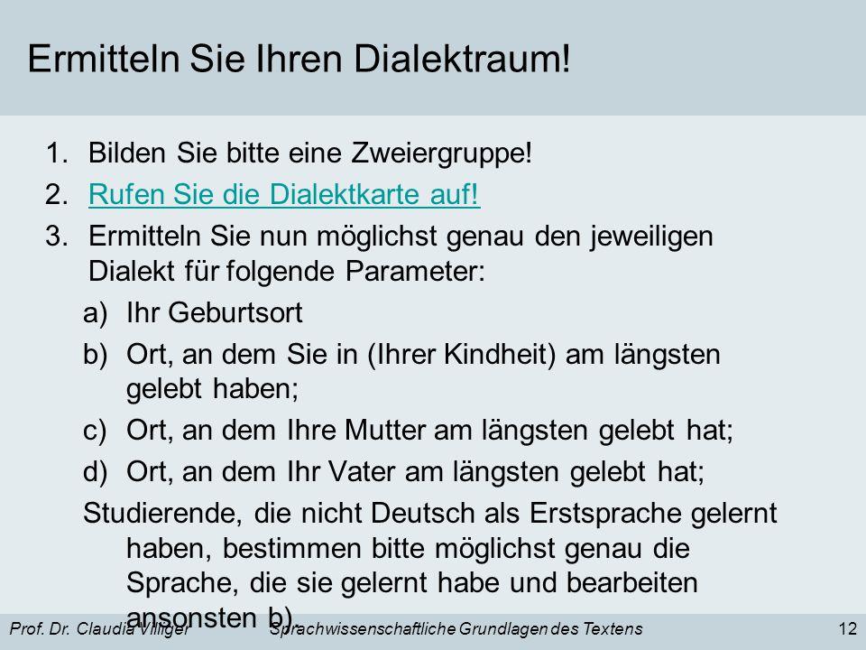 Prof. Dr. Claudia VilligerSprachwissenschaftliche Grundlagen des Textens12 Ermitteln Sie Ihren Dialektraum! 1.Bilden Sie bitte eine Zweiergruppe! 2.Ru