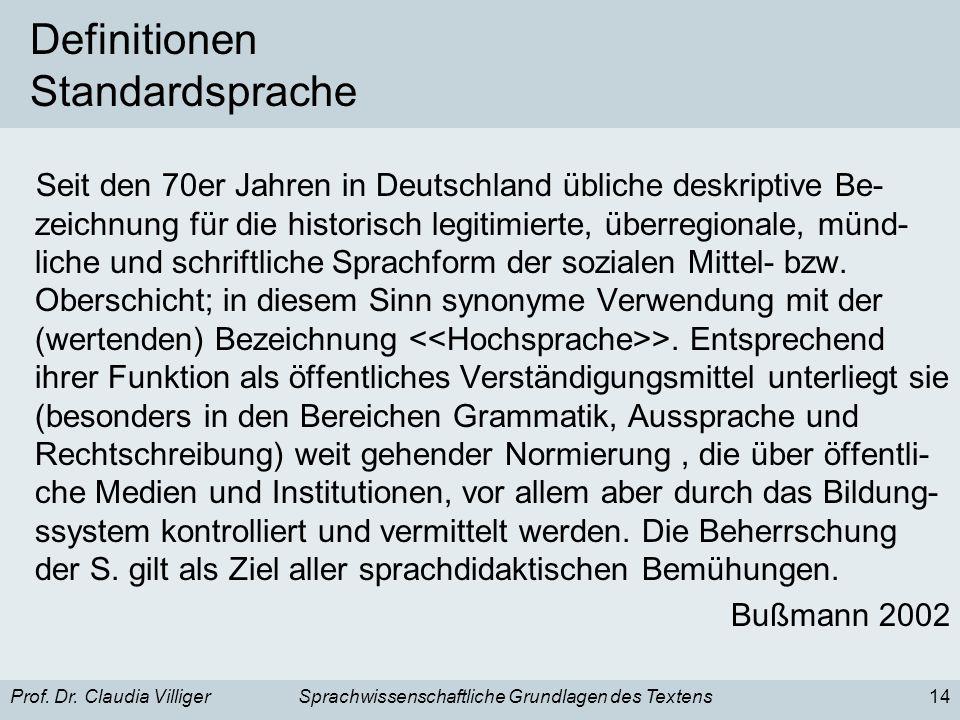 Prof. Dr. Claudia VilligerSprachwissenschaftliche Grundlagen des Textens14 Definitionen Standardsprache Seit den 70er Jahren in Deutschland übliche de