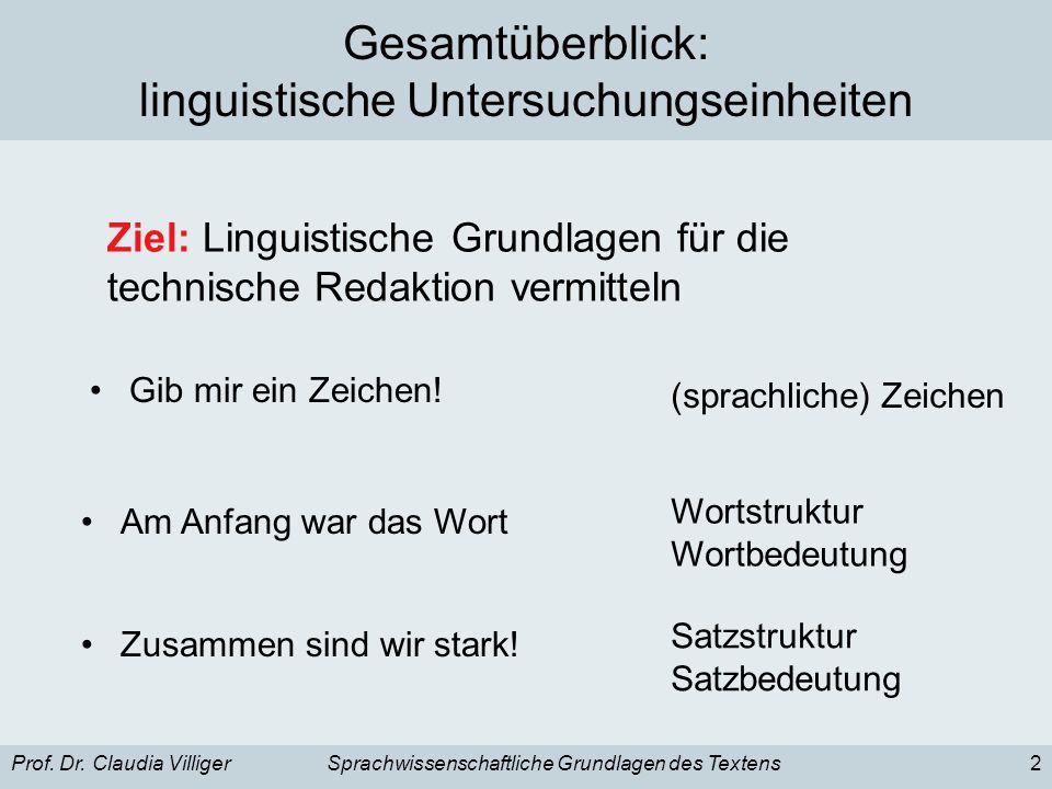 Prof. Dr. Claudia VilligerSprachwissenschaftliche Grundlagen des Textens2 Gesamtüberblick: linguistische Untersuchungseinheiten Gib mir ein Zeichen! (