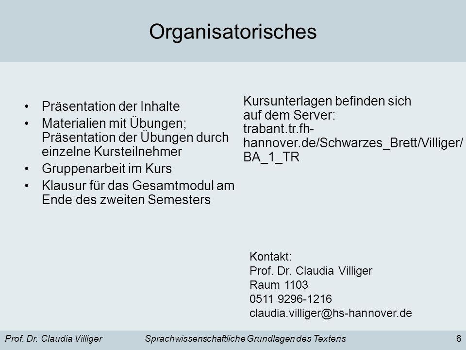 Prof. Dr. Claudia VilligerSprachwissenschaftliche Grundlagen des Textens6 Organisatorisches Präsentation der Inhalte Materialien mit Übungen; Präsenta