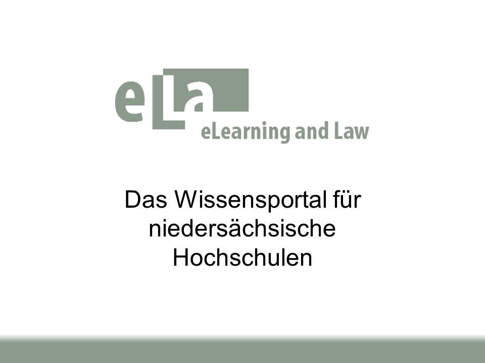 Seite 2 / 1325.09.03 el.la wird im Kontext des ELAN auf Antrag von Taeger (OFFIS) neben den Piloten zunächst bis 12/2004 vom MWK gefördert.