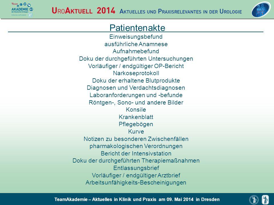 TeamAkademie – Aktuelles in Klinik und Praxis am 09. Mai 2014 in Dresden Patientenakte Einweisungsbefund ausführliche Anamnese Aufnahmebefund Doku der