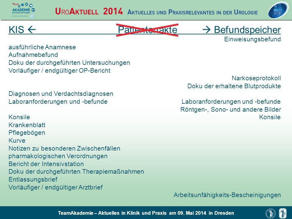 TeamAkademie – Aktuelles in Klinik und Praxis am 09. Mai 2014 in Dresden KIS  Patientenakte  Befundspeicher Einweisungsbefund ausführliche Anamnese