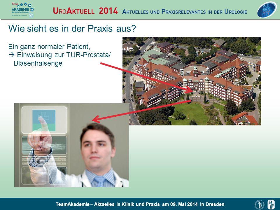 TeamAkademie – Aktuelles in Klinik und Praxis am 09. Mai 2014 in Dresden Wie sieht es in der Praxis aus? Ein ganz normaler Patient,  Einweisung zur T