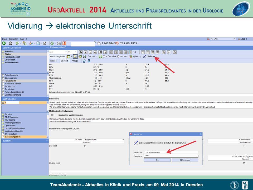 TeamAkademie – Aktuelles in Klinik und Praxis am 09. Mai 2014 in Dresden Vidierung  elektronische Unterschrift