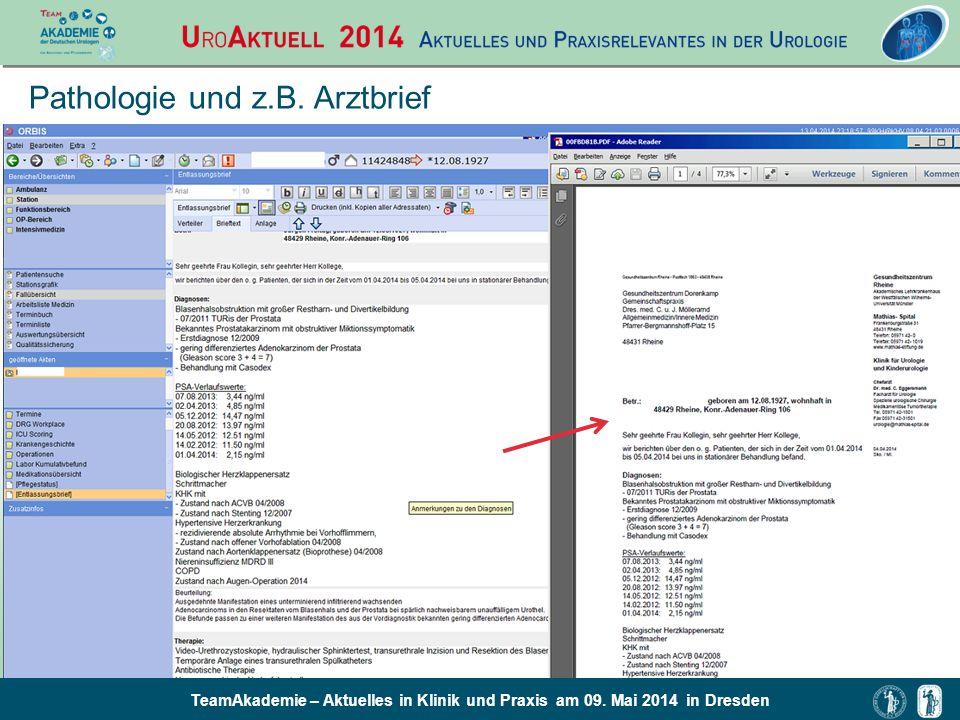 TeamAkademie – Aktuelles in Klinik und Praxis am 09. Mai 2014 in Dresden Pathologie und z.B. Arztbrief
