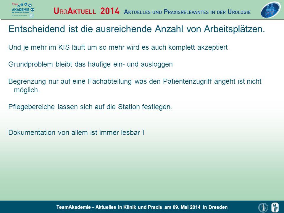 TeamAkademie – Aktuelles in Klinik und Praxis am 09. Mai 2014 in Dresden Entscheidend ist die ausreichende Anzahl von Arbeitsplätzen. Und je mehr im K