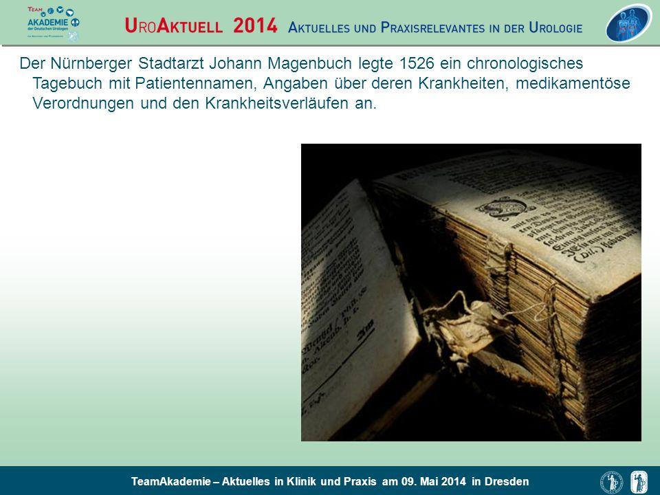 TeamAkademie – Aktuelles in Klinik und Praxis am 09. Mai 2014 in Dresden Der Nürnberger Stadtarzt Johann Magenbuch legte 1526 ein chronologisches Tage