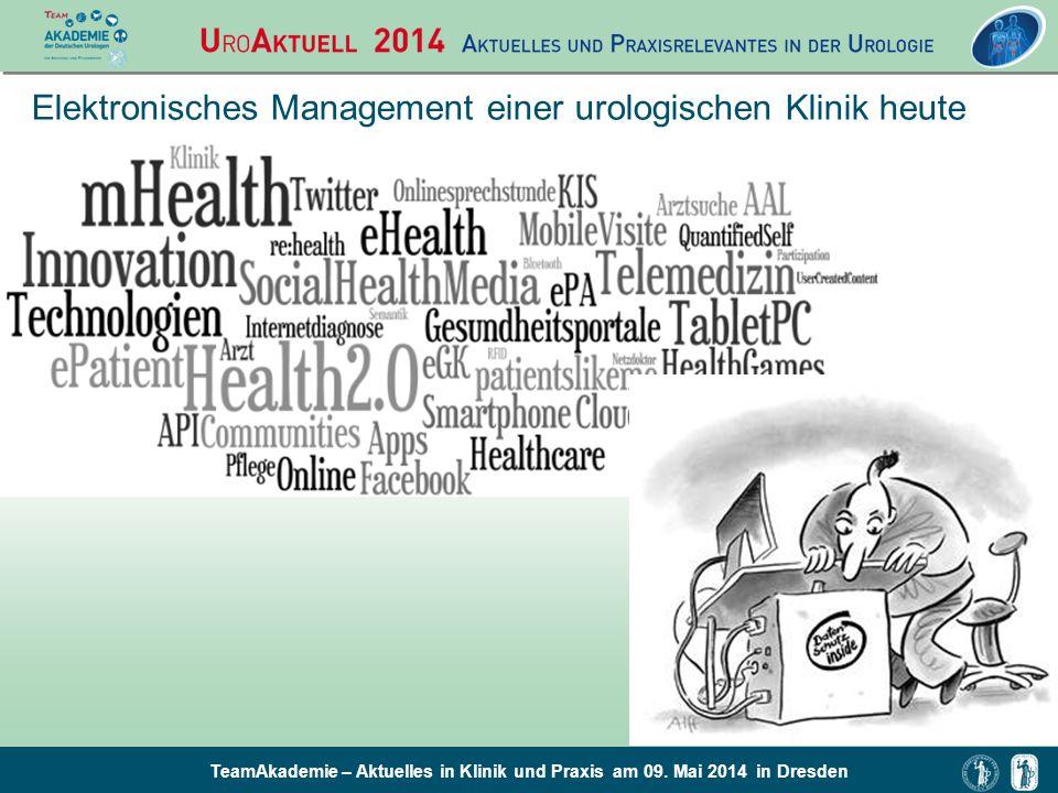 TeamAkademie – Aktuelles in Klinik und Praxis am 09. Mai 2014 in Dresden Elektronisches Management einer urologischen Klinik heute