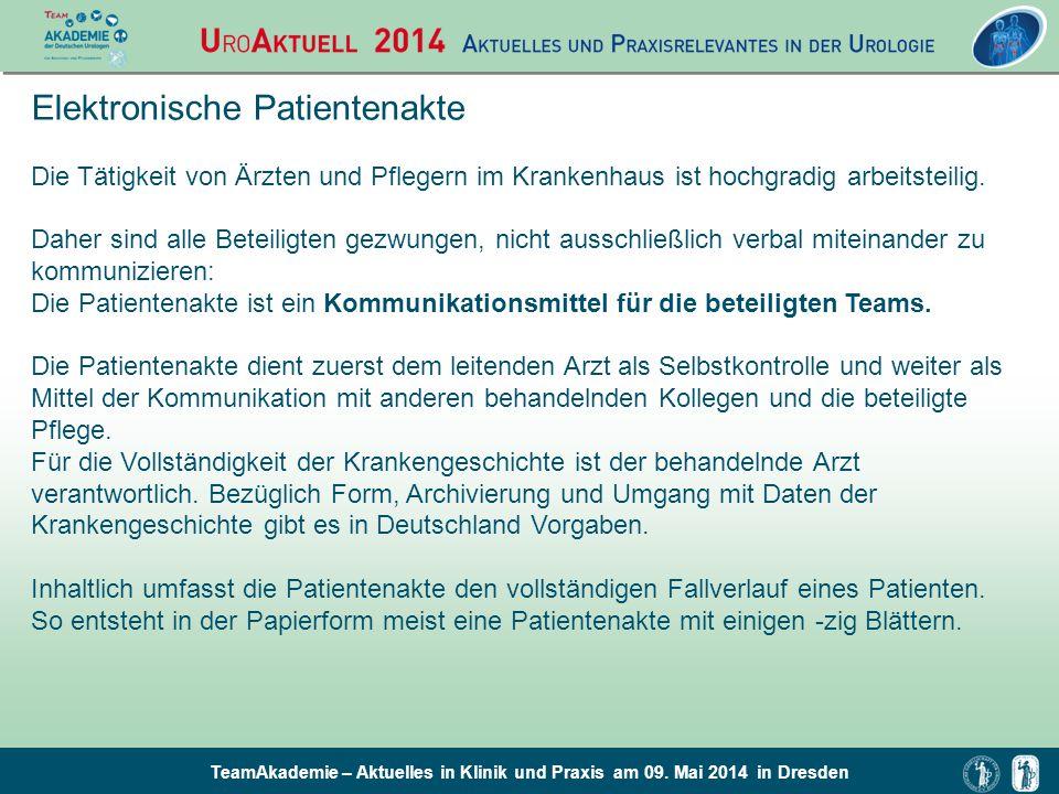 TeamAkademie – Aktuelles in Klinik und Praxis am 09. Mai 2014 in Dresden Elektronische Patientenakte Die Tätigkeit von Ärzten und Pflegern im Krankenh