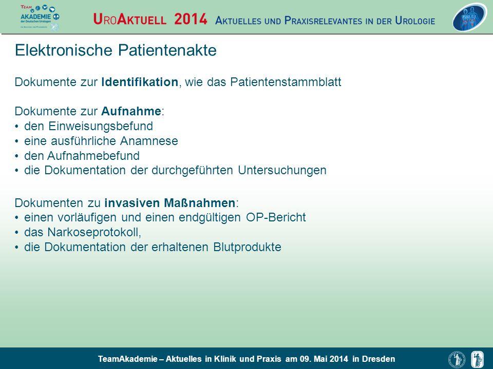 TeamAkademie – Aktuelles in Klinik und Praxis am 09. Mai 2014 in Dresden Elektronische Patientenakte Dokumente zur Identifikation, wie das Patientenst